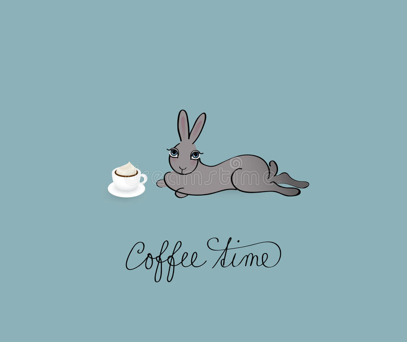 Coffee Time. Funny card with lazy Rabbit royalty free illustration