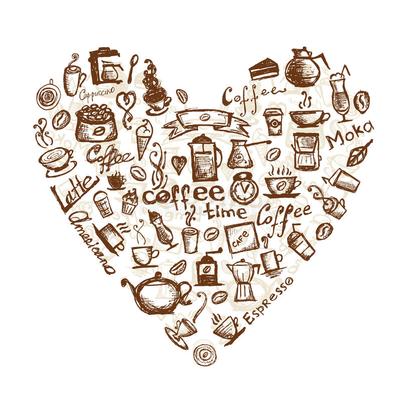 Download Coffee Time, Heart Shape For Your Design Stock Vector - Illustration: 20886540