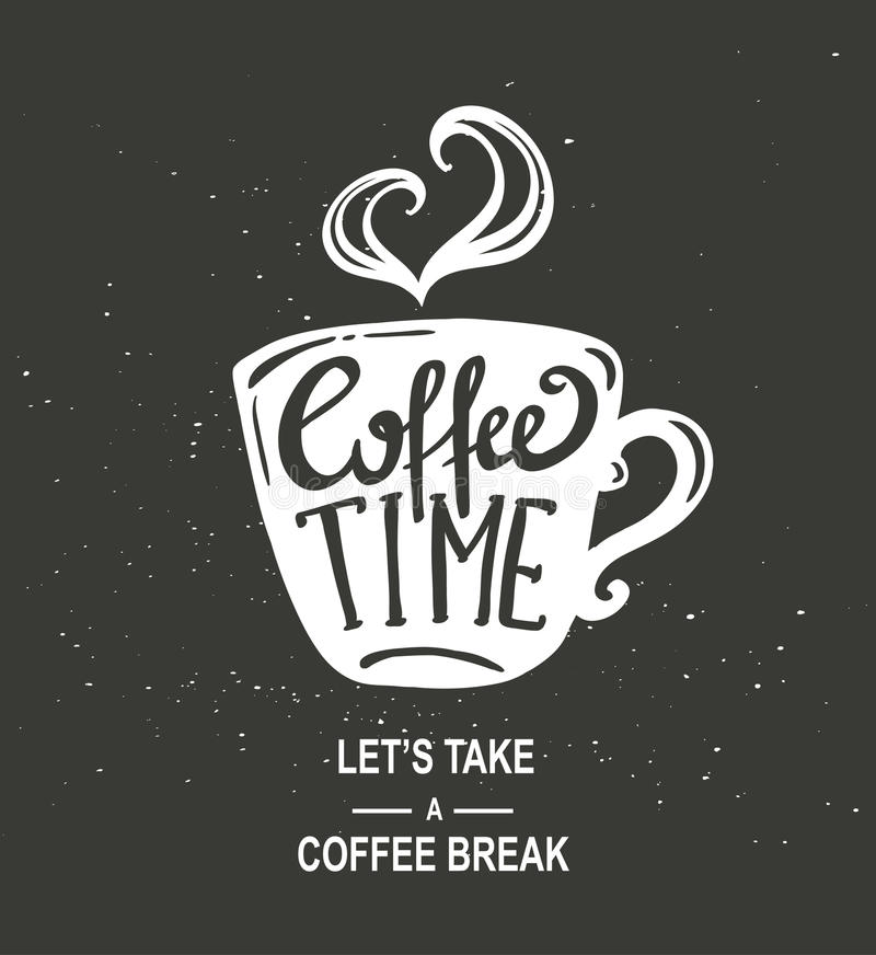 Coffee Time Hipster Vintage Stylized Coffee Paper Cup With Lettering On Chalkboard Background royalty free illustration