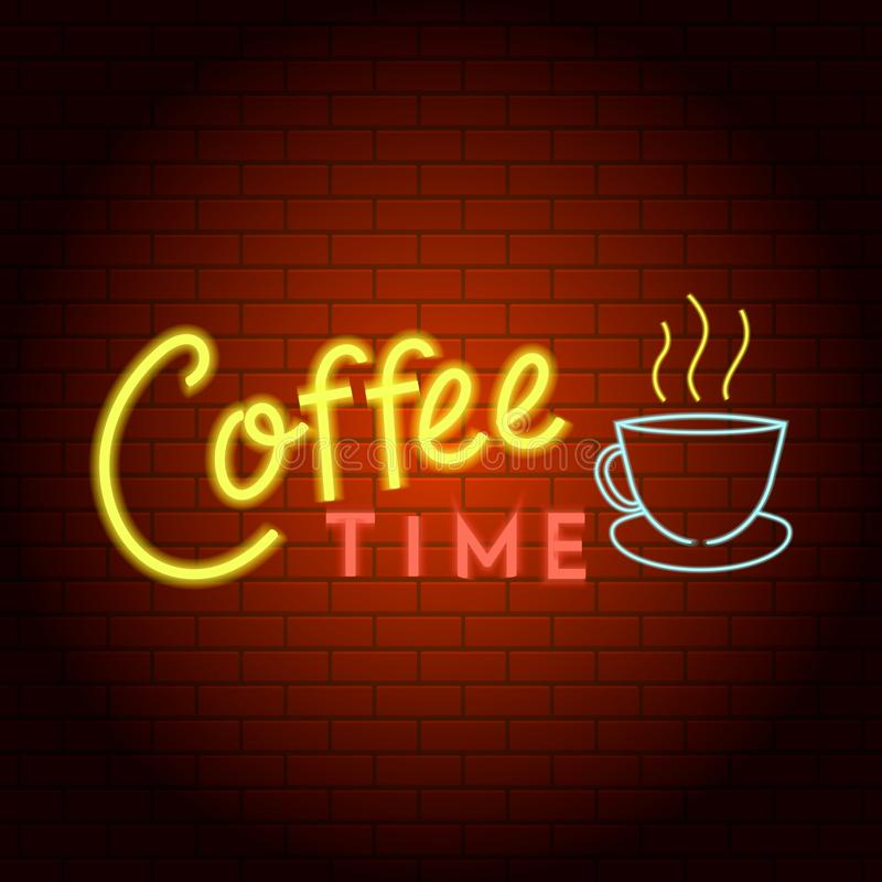 Coffee time logo neon light icon, realistic style royalty free illustration