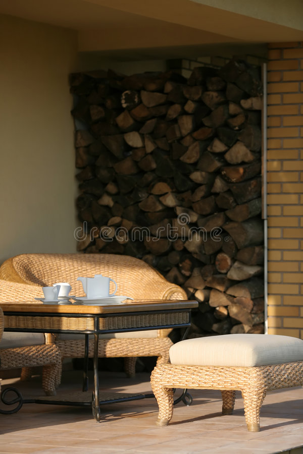 Download Coffee Time On The Patio stock image. Image of furniture - 1766923