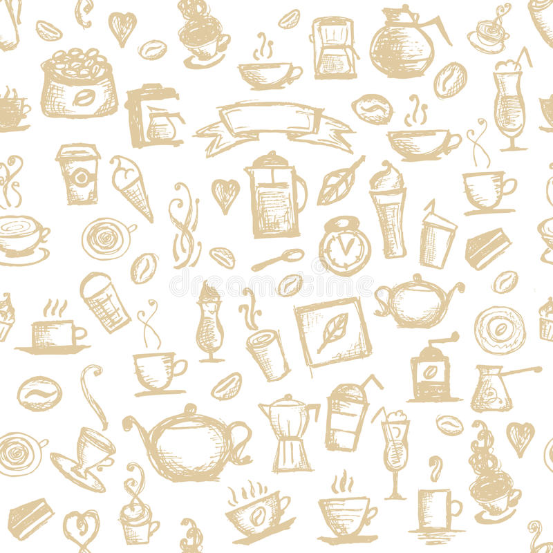 Coffee time, seamless background for your design royalty free illustration