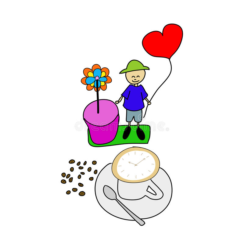 Download Coffee Time , Watch Drawing On Latte Art Coffee Cup Stock Image - Image: 28887581