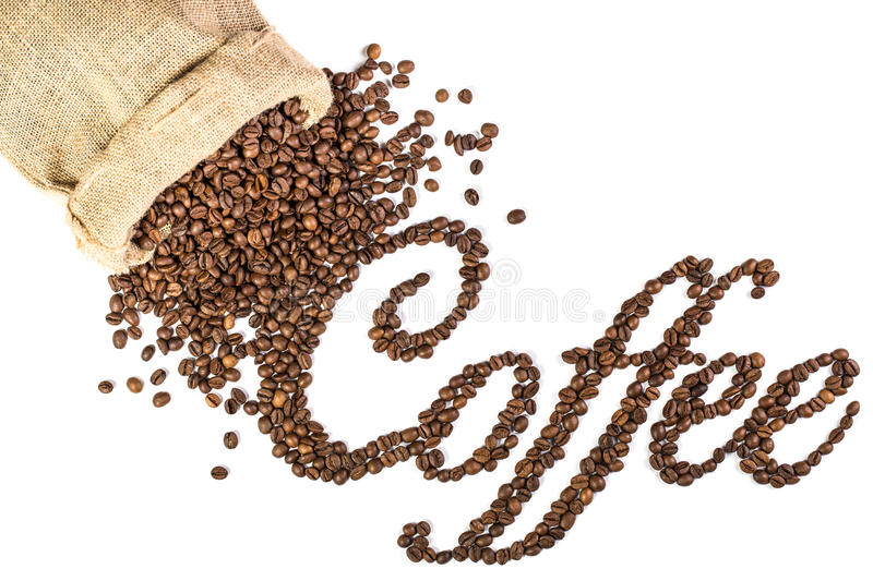 Coffee title made from roasted coffee beans. royalty free stock photo