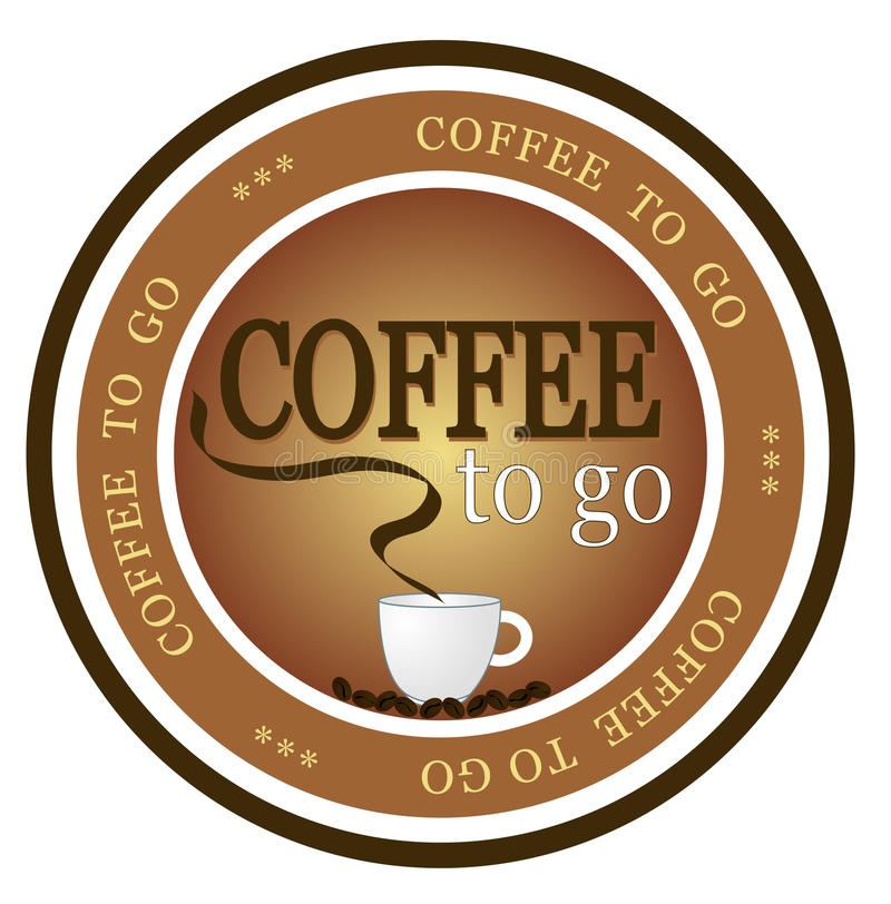 Coffee to go. An illustrated badge offering fresh brewed coffee to go. All on white background royalty free illustration