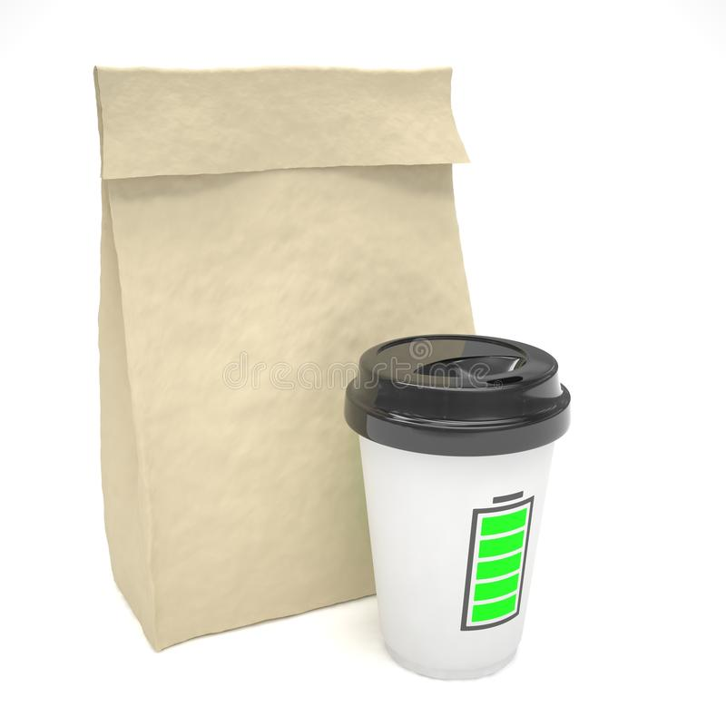 Free Coffee To Go And Lunch Bag, On White Stock Image - 63205981
