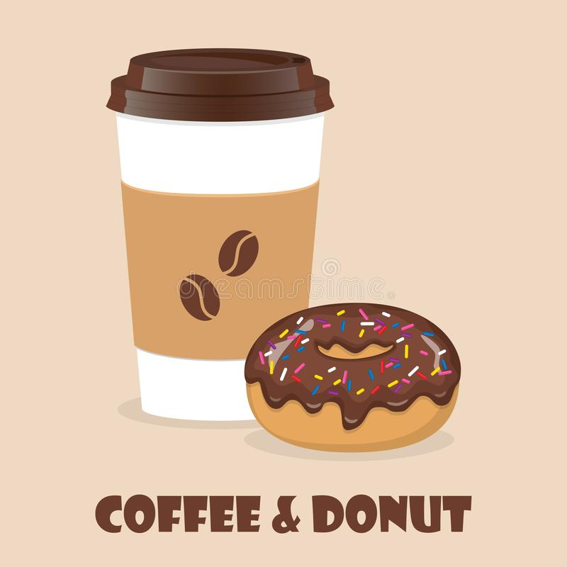 Coffee to go and donut. Vector illustration for discount voucher, flyer, cafe menu, advertising poster stock illustration