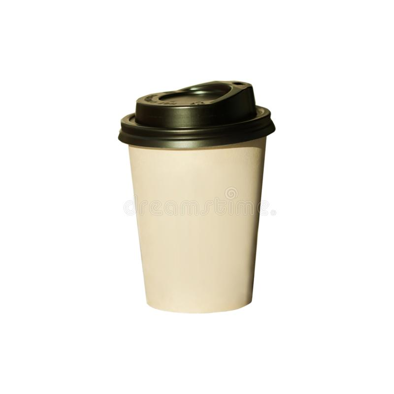 Free Coffee To Go On A White Background Isolated. Brown Kraft Paper Cup With Black Lid, Lifestyle Concept Stock Image - 157268161
