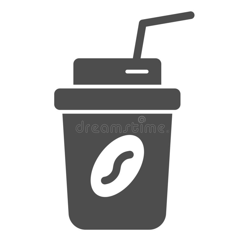 Coffee to go solid icon. Coffee takeaway vector illustration isolated on white. Coffee in paper cup glyph style design. Designed for web and app. Eps 10 royalty free illustration