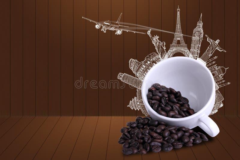 Coffee travel around the world royalty free illustration