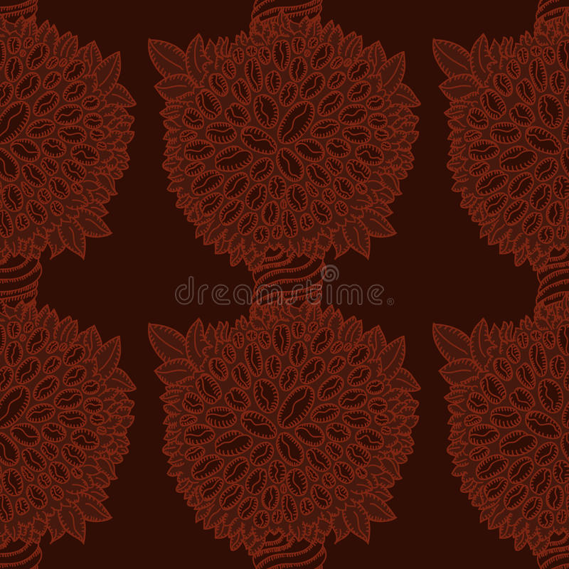 Coffee Tree With Beans Pattern Royalty Free Stock Photo