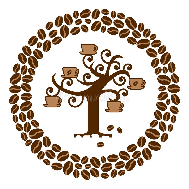 Coffee tree with cups in a circle of coffee beans, vector stock illustration
