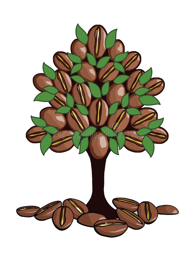 The coffee tree stock illustration. Illustration of badge ...