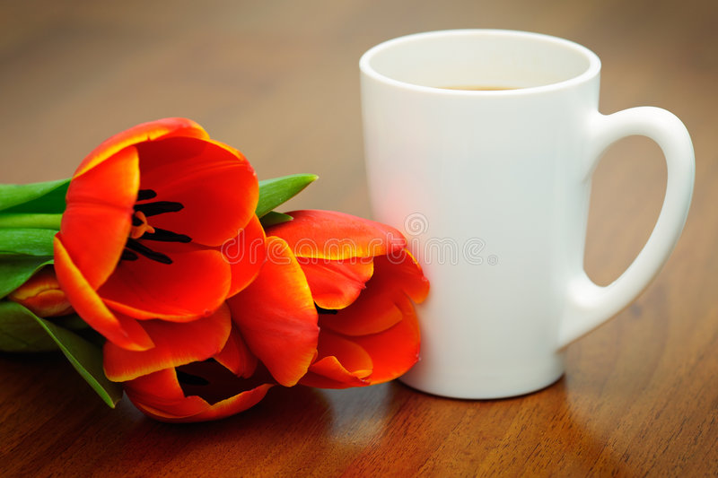 Coffee With Tulips Stock Photo