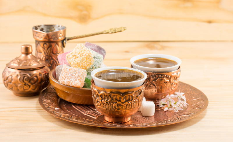 Coffee and Turkish delight in a copper cups stock images