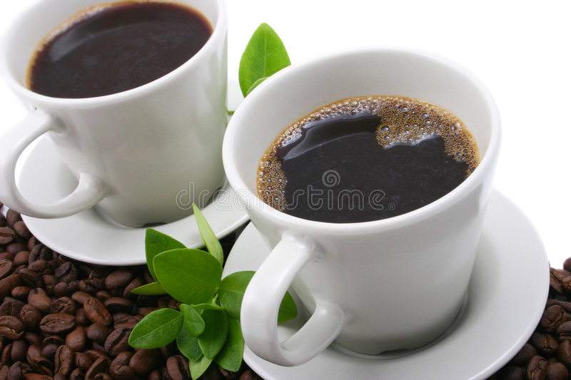 Coffee for two. Two cups of coffee royalty free stock photography
