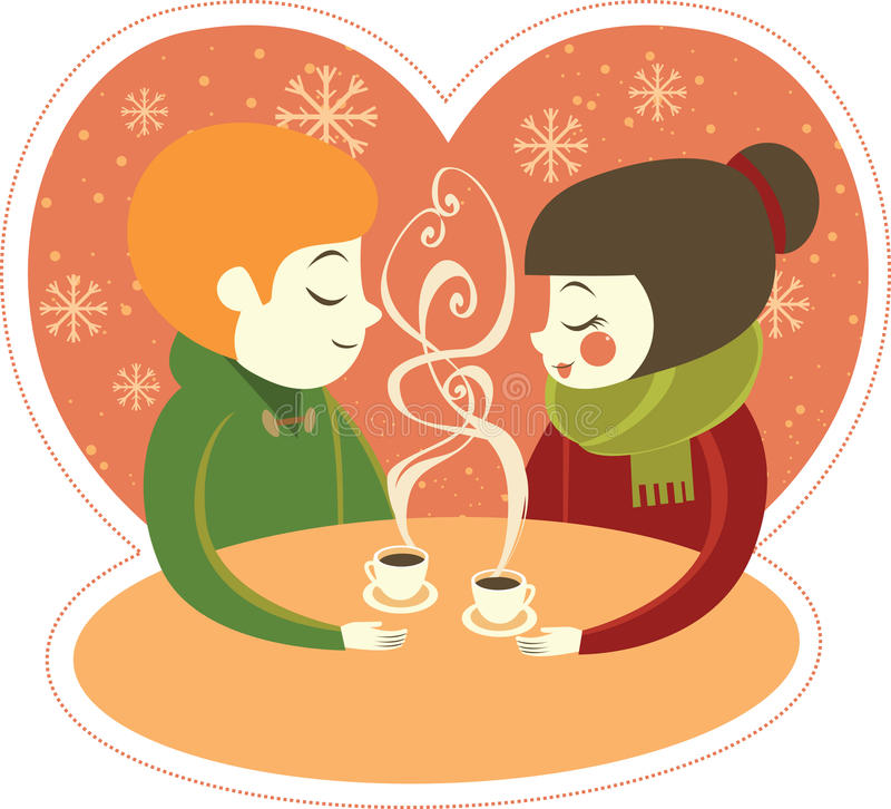 Coffee for two. Couple enjoying hot coffee in winter cafe royalty free illustration