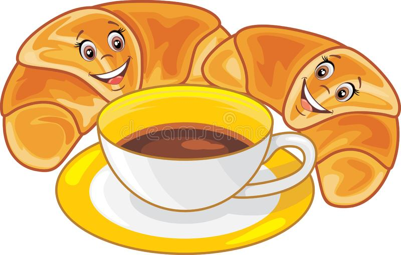 Coffee and two funny croissants stock image