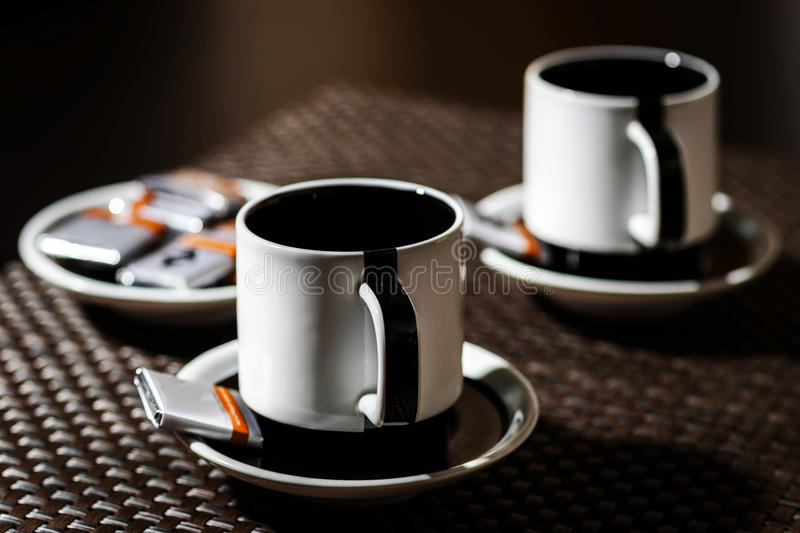 Coffee for two persons on the table stock photography