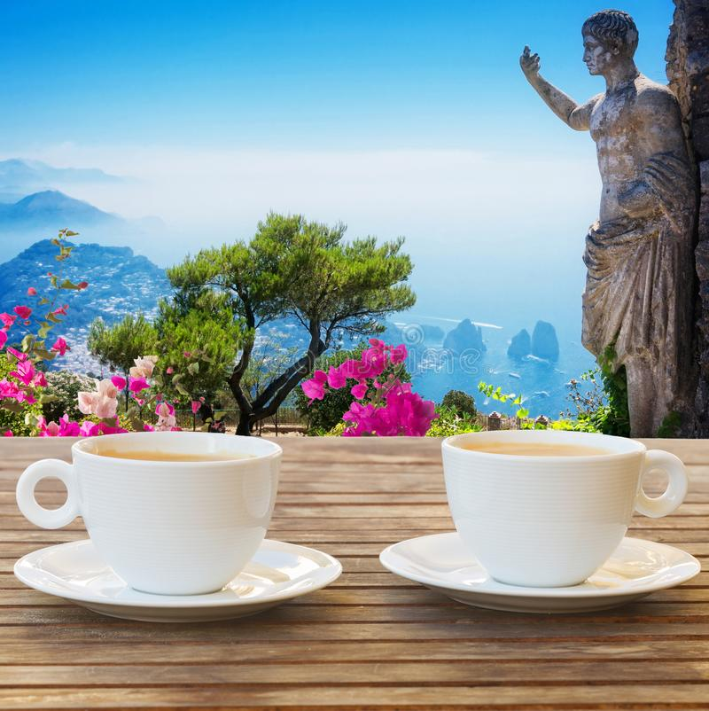Cup of coffee at Capri, Italy stock image