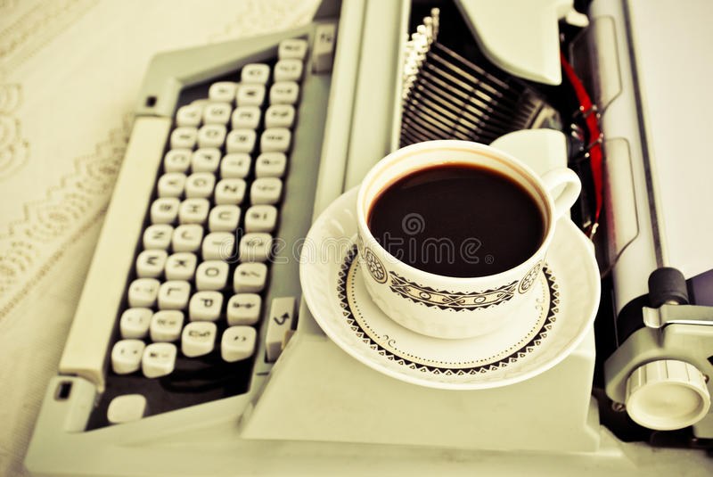 Download Coffee and a type-writer stock photo. Image of machine - 20547772