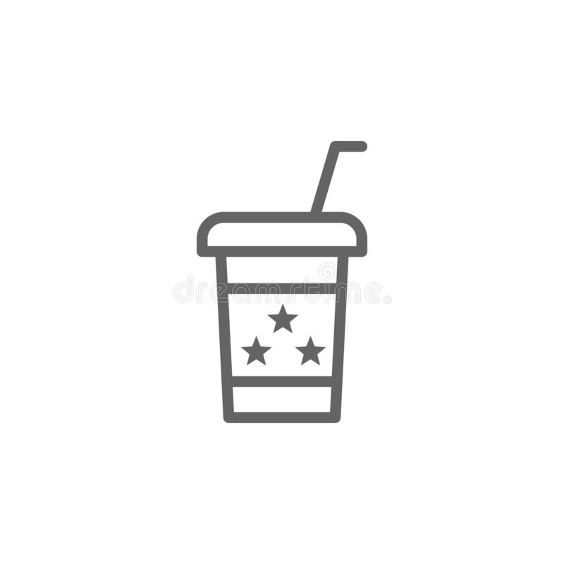 Coffee, USA icon. Element of 4th of july icon. Thin line icon for website design and development, app development. Premium icon. On white background stock illustration