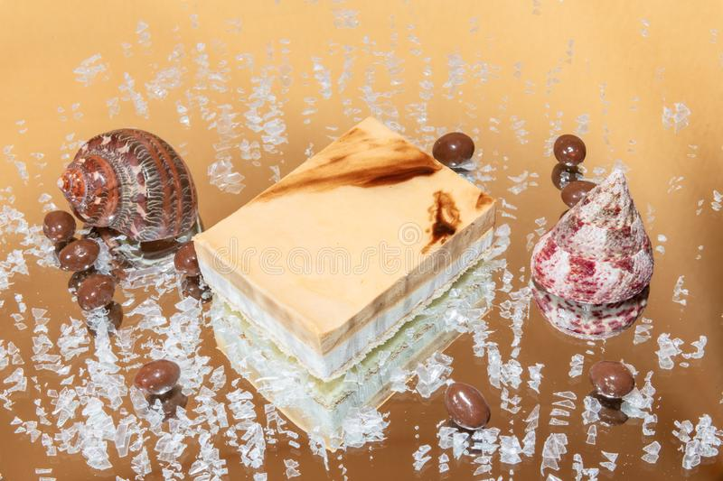 delicious coffee and vanilla cream mousse cake stock images