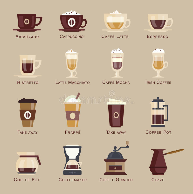Coffee vector icon set menu royalty free stock photography