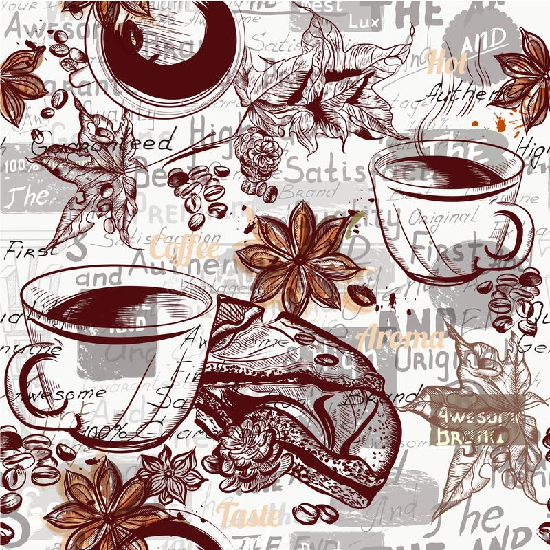 Coffee vector pattern background with engraved coffee cups, grains, maple and star anise vector illustration
