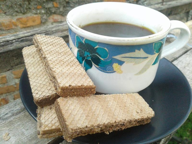 coffee and wafer royalty free stock image