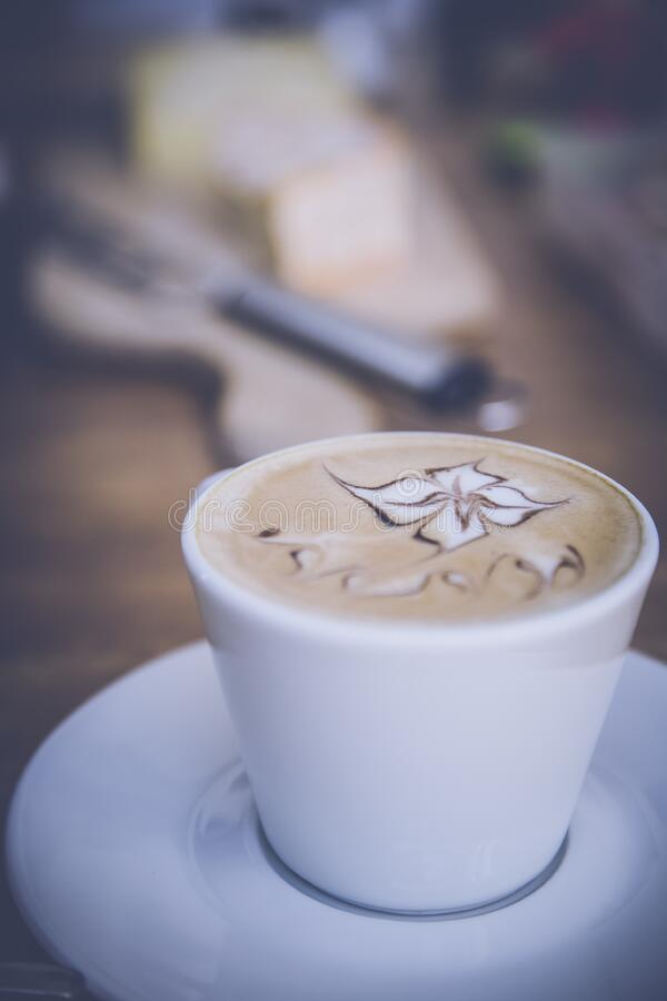 Coffee on White Ceramic Cup stock images