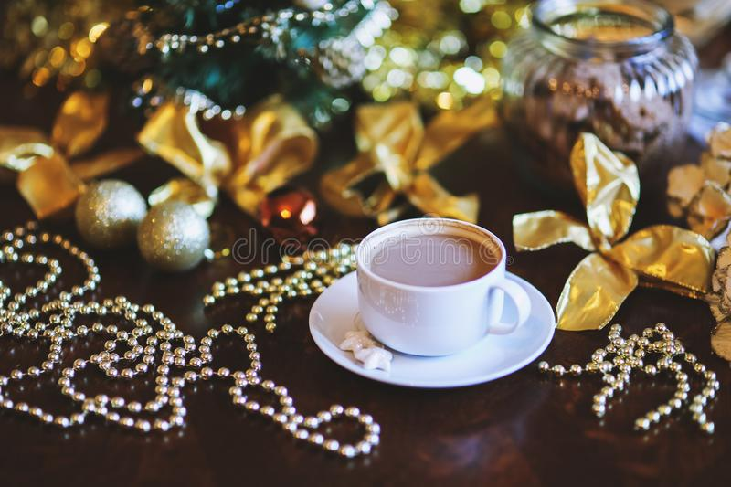 Coffee in White Cup. Christmas Time. royalty free stock photos