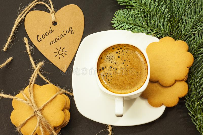 Coffee in a white cup, heart with an inscription good morning, close-up royalty free stock photo