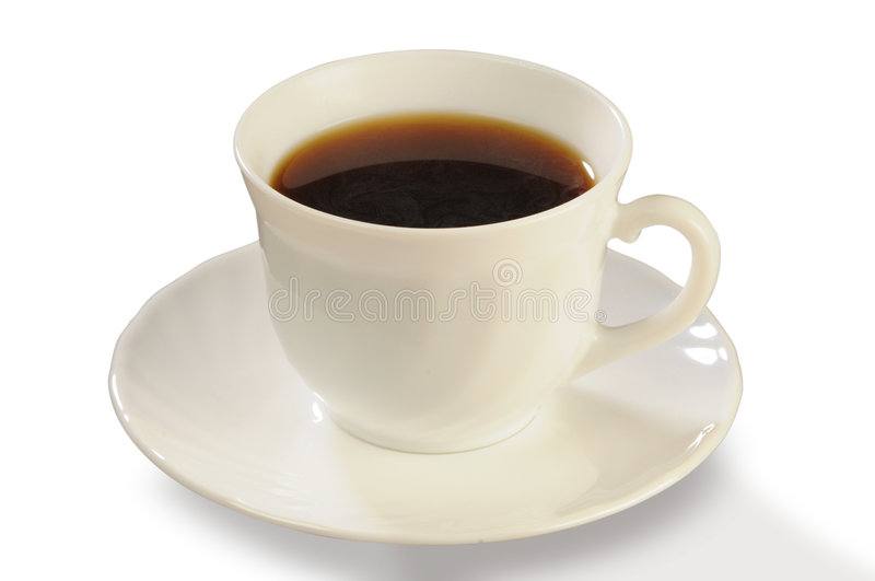 Coffee in a white cup on a saucer royalty free stock photos