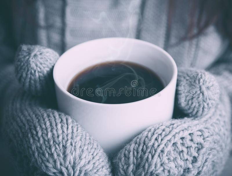 Coffee in winters royalty free stock photography