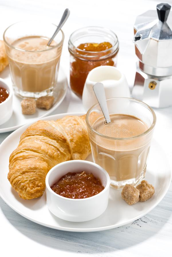 Free Coffee With Milk And Croissants With Jam For Breakfast, Closeup Stock Images - 130298444