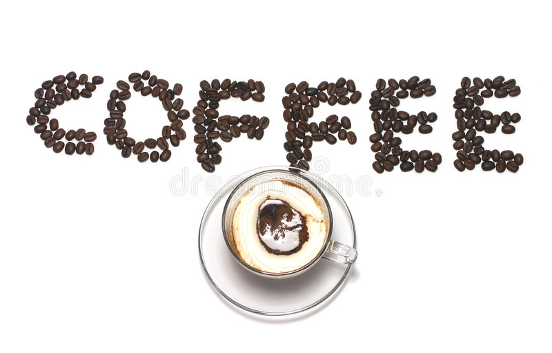 Coffee word with coffee bean and coffee cup. Coffee word by coffee bean and coffee with cream stock photography