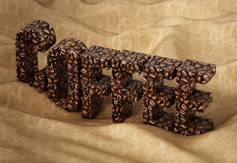 Coffee word consisting of roasted coffee beans standing on sack texture. 3D illustration royalty free illustration