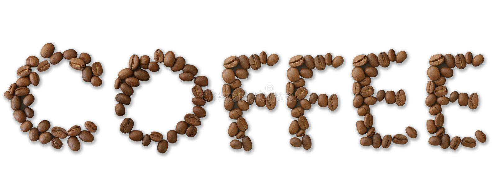 Coffee word made of coffee beans on white background - close up concept - stock. Illustration stock illustration