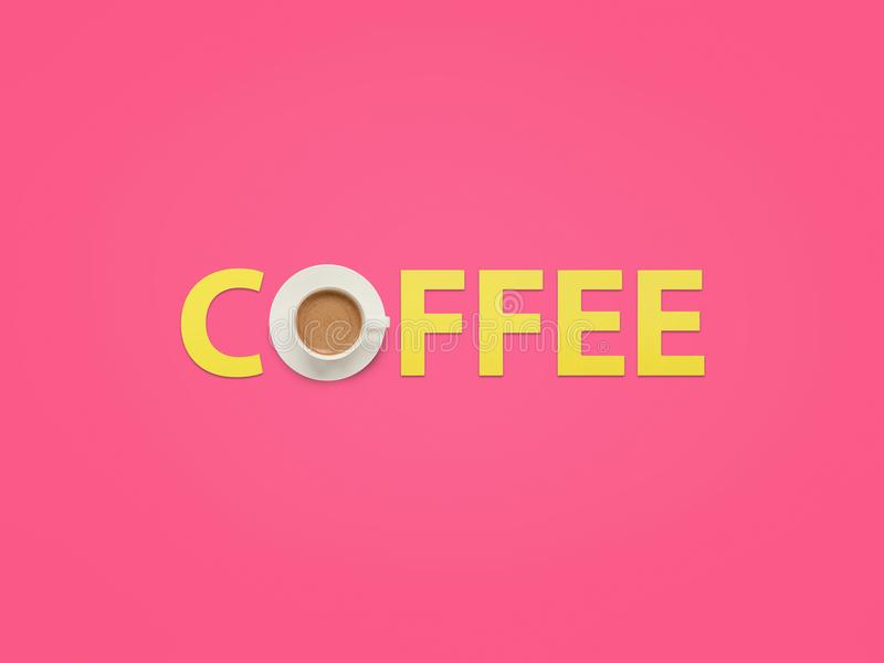 Coffee word made with cup stock photo