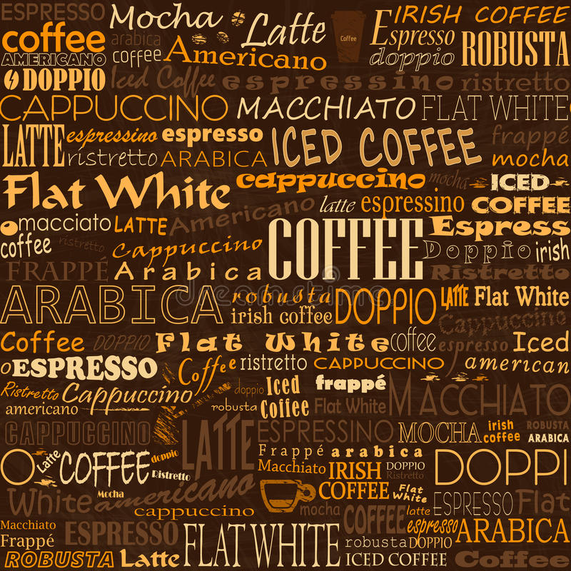 Coffee Words Seamless Background Tags stock illustration