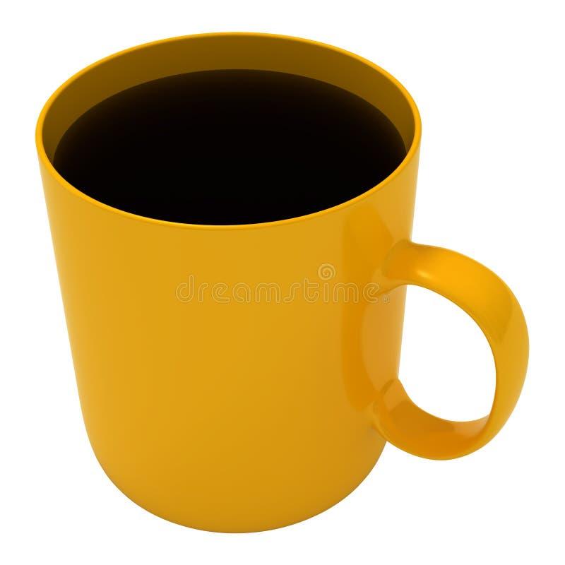 Free Coffee, Yellow Mug, Isolated On White Stock Photo - 16390660