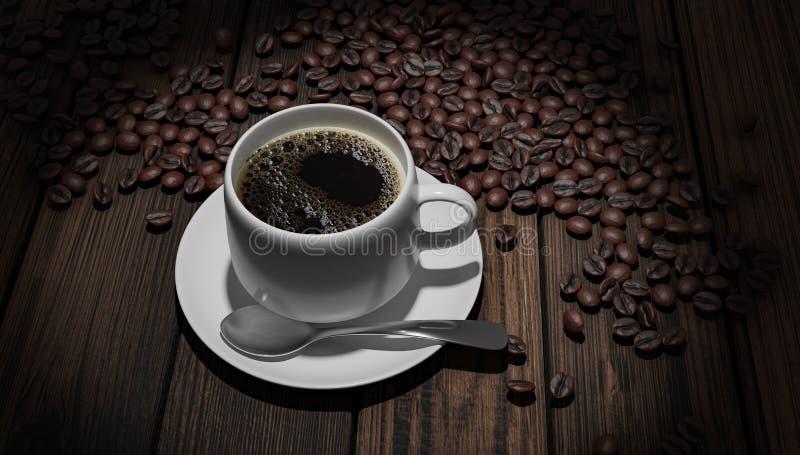 Coffeebeans de whith de Coffeecup images libres de droits