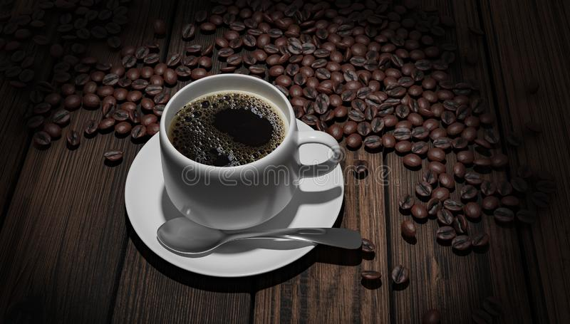 Coffeebeans del whith de Coffeecup imágenes de archivo libres de regalías