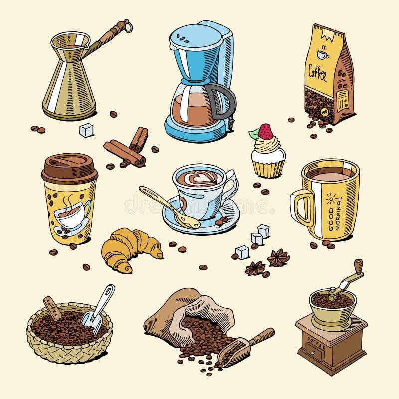 Coffeebeans för kaffeuppsättning och coffeecupvektorn dricker varm espresso eller cappuccino i coffeeshop och rånar med koffein i vektor illustrationer