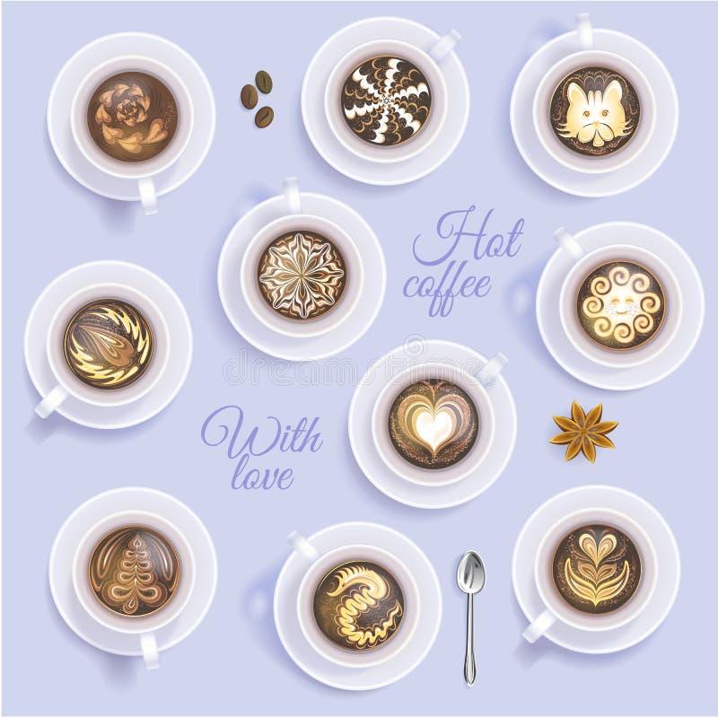 Coffeecup di vettore della tazza di caffè e caffè espresso o cappuccino caldo della bevanda con arte che assorbe coffeeshop e taz royalty illustrazione gratis