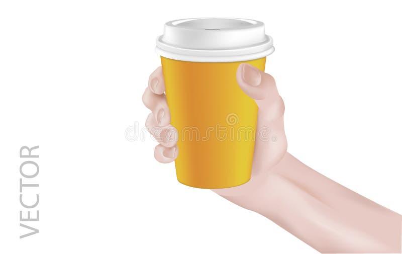 CoffeeCup&Hand ilustração royalty free