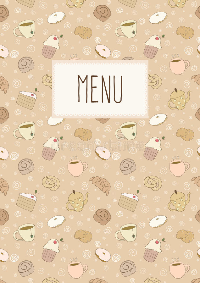 Coffeehouse menu page. Menu page with hand drawn cups and bakery elements royalty free illustration
