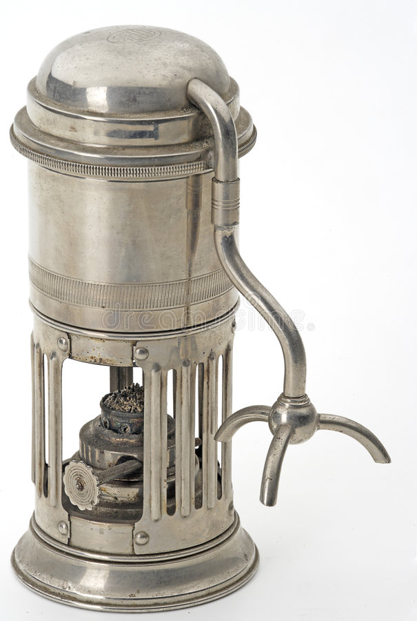 Coffeepot. Old italian alcol coffeepot bacckground isolated royalty free stock image