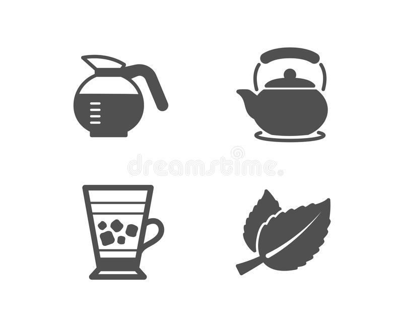 Coffeepot, Frappe and Teapot icons. Mint leaves sign. Brewed coffee, Cold drink, Tea kettle. Mentha herbal. stock illustration